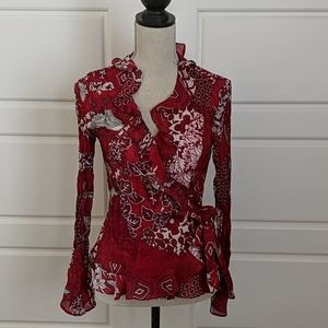 Sunny Leigh Small Red Ruffled Wrap Top Blouse
